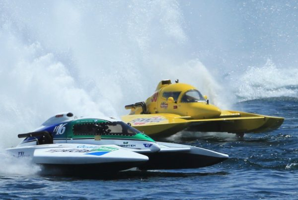 Hydroplane boats racing in the Nickel Cup