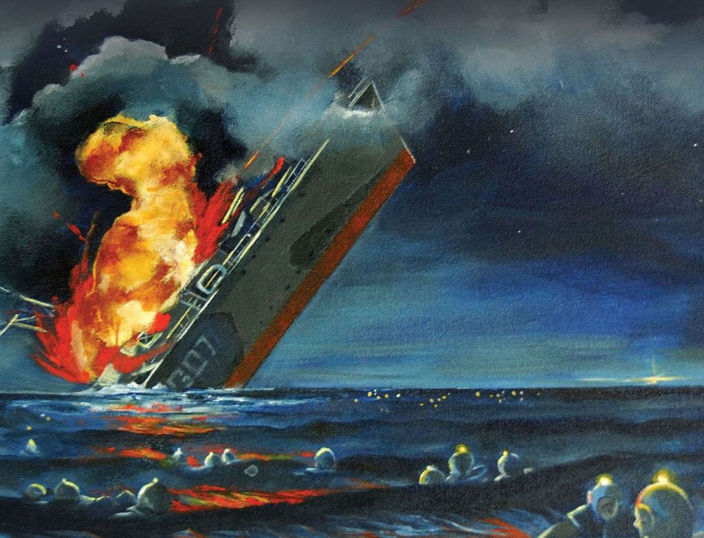 Rendering of the Sinking of the Athabaskan