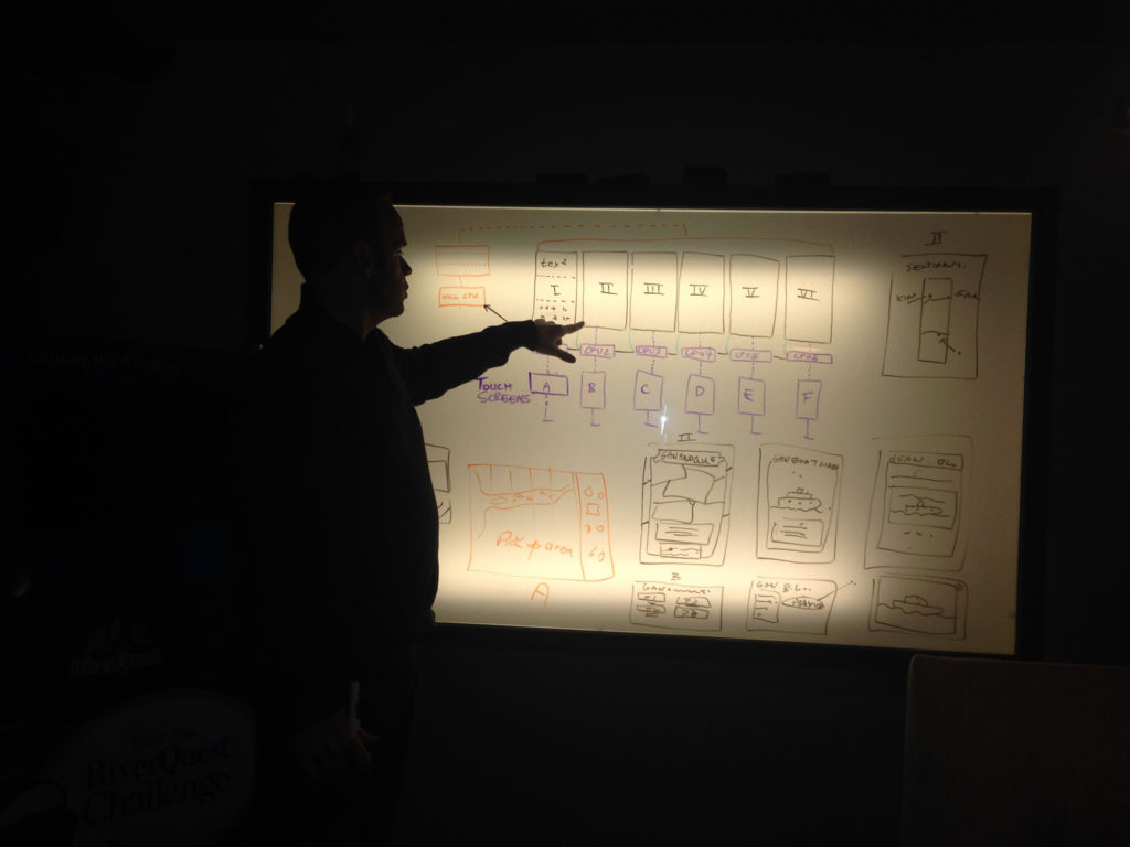 Man pointing at whiteboard with complex drawing